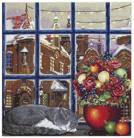 Merejka Cross Stitch Kit - Winter Dream - Cat, Snow, Christmas - DMC threads