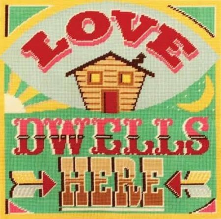 DMC Printed Cushion Front Tapestry Kit - Homespun Slogan - Love Dwells Here
