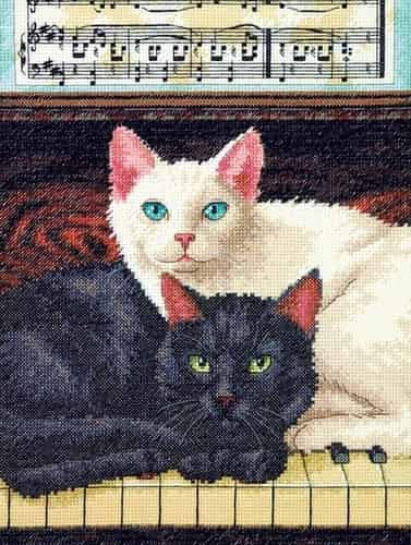 Dimensions Cross Stitch Kit - Ebony and Ivory, Cats