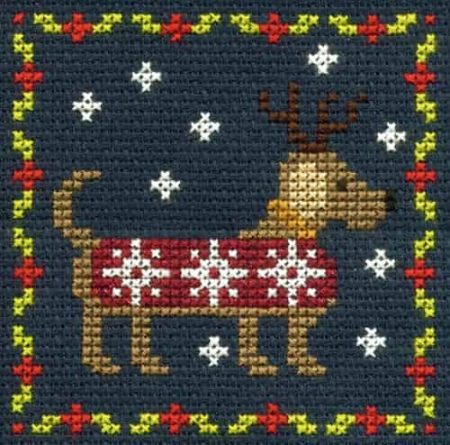 DMC Mini Cross Stitch Kit - Festive Christmas - Festive Puppy