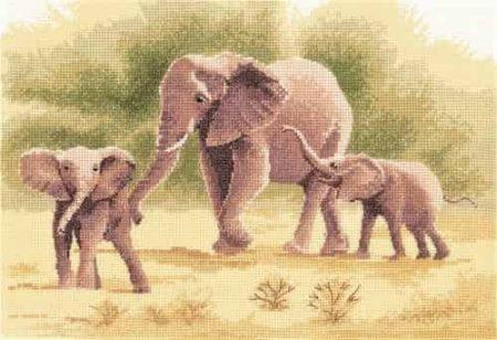 Heritage Crafts Cross Stitch Kit - Power and Grace - Elephants