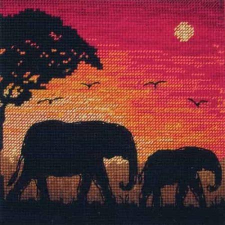 Anchor Maia Cross Stitch Kit - Elephant Silhouette