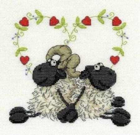 DMC Cross Stitch Kit - Shabby Sheep, Love you Too BK1567