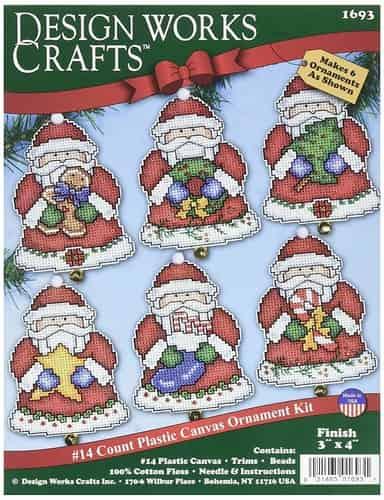 Design Works Cross Stitch Kit  Christmas Tree Ornaments - Santa