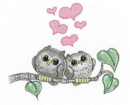 Heritage Crafts Cross Stitch Kit - Hearts and Feathers, Owls