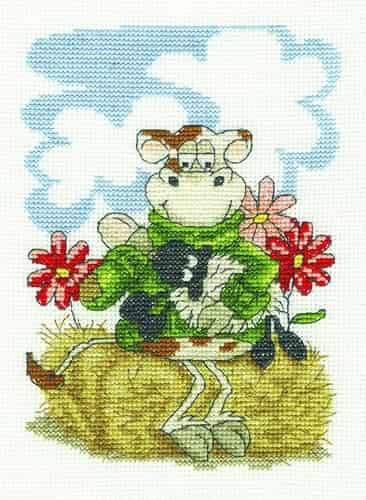 DMC Cross Stitch Kit - Feeding Time, Cow BK1647
