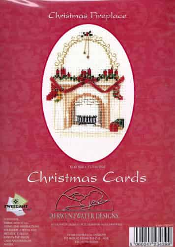 Derwentwater Designs Cross Stitch Kit - Christmas Card, Christmas Fireplace