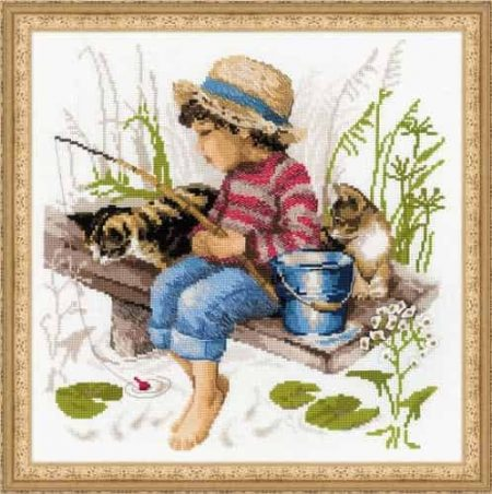 Riolis Cross Stitch Kit - Let's Go Fishing, Boy, Cats