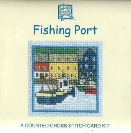 Textile Heritage Cross Stitch Kit - Card - Fishing Port - Made in Scotland