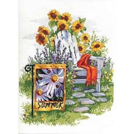 Janlynn Cross Stitch Kit - Summer Garden Flag, Flowers