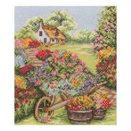 Anchor Cross Stitch Kit - Floral Wheelbarrow, Flowers PCE749