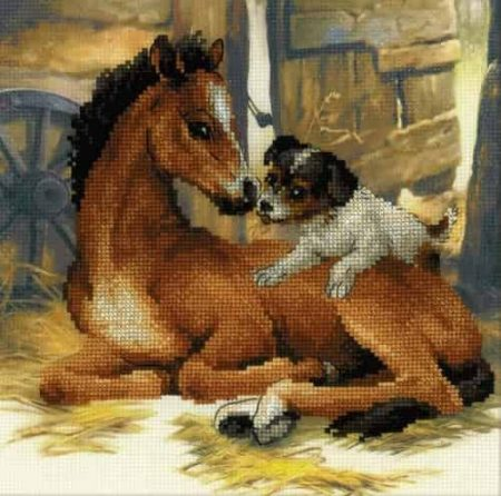 Riolis Cross Stitch Kit - Foal and Puppy 0052PT