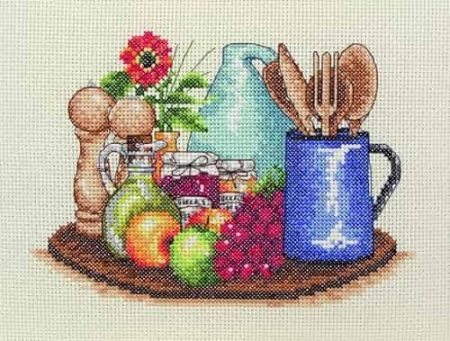 Anchor Cross Stitch Kit - Kitchen, Food, Utensils PCE758