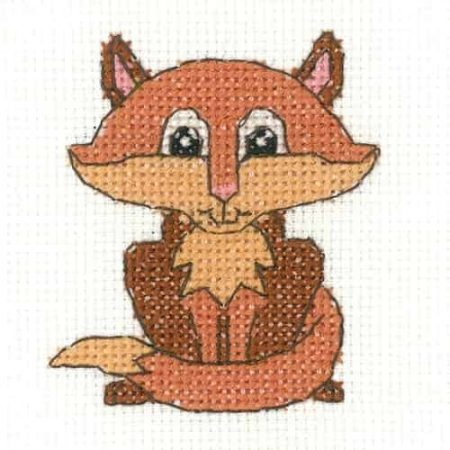 Heritage Crafts Cross Stitch Kit - Fox - Juniors, Beginners