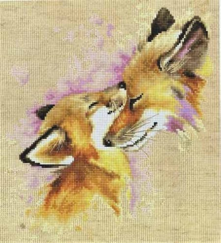 Luca S Cross Stitch Kit - Foxes B2312