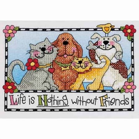 Dimensions Stamped Cross Stitch Kit - Life is Nothing without Friends Cat & Dog