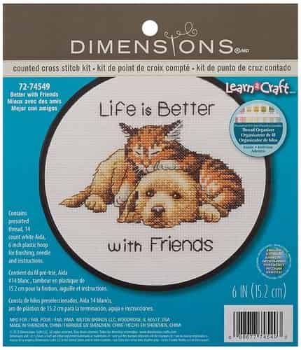 Dimensions Cross Stitch Kit - Life is better with Friends - Cat and Dog