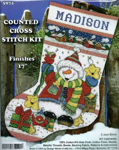 Design Works Cross Stitch Kit - Snowman Fun Stocking