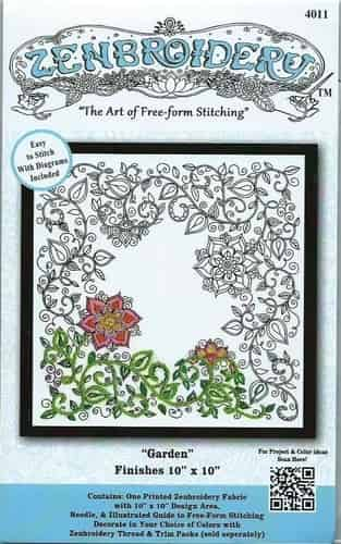 Design Works Zenbroidery Garden Fabric Pack, Embroidery