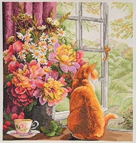 Merejka Cross Stitch Kit - Summer Afternoon - Cat, Window - DMC threads