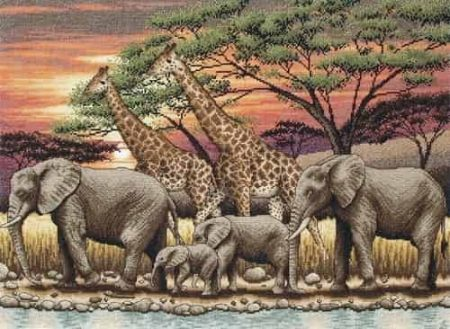 Anchor Maia Collection Cross Stitch Kit - African Sunset - Elephants & Giraffes