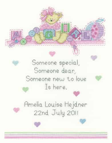 Heritage Crafts Cross Stitch Kit - Baby Girl Sampler