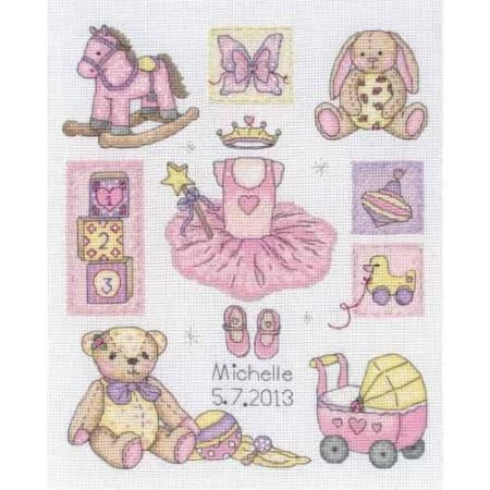 Anchor Cross Stitch Kit - Girl Birth, Baby Sampler ACS38