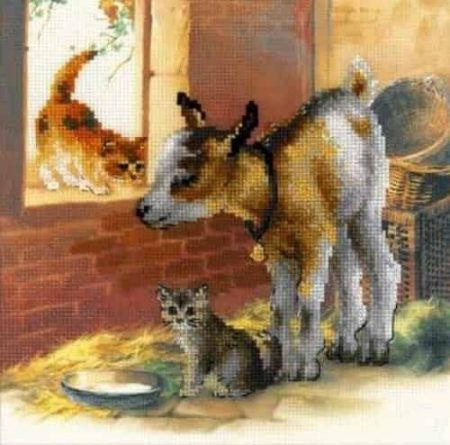 Riolis Cross Stitch Kit - Goat and Kitten 0053PT