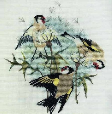 Derwentwater Designs Cross Stitch Kit - Goldfinches & Thistles, Birds