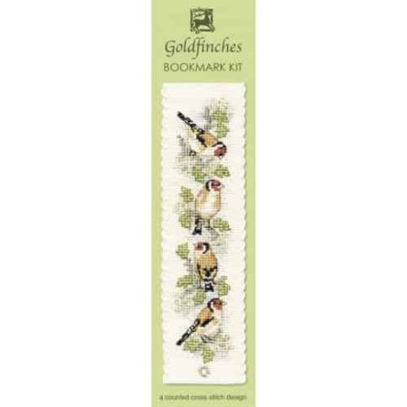Textile Heritage Cross Stitch Kit - Bookmark - Goldfinches - Made in Scotland