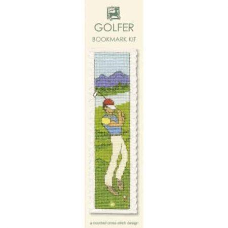 Textile Heritage Cross Stitch Kit - Bookmark - Golfer - Made in Scotland