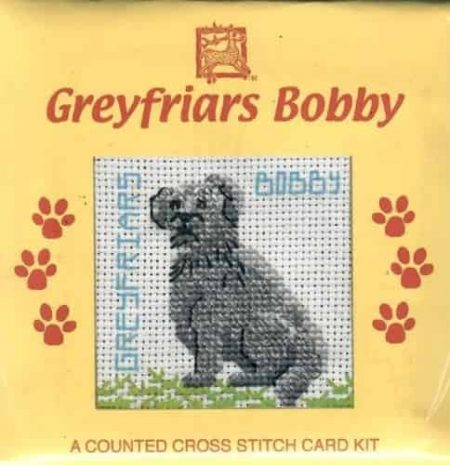 Textile Heritage Cross Stitch Kit - Card - Greyfriars Bobby, Skye Terrier - Made in Scotland