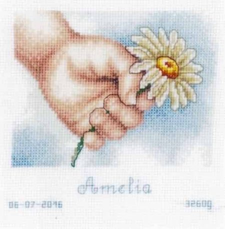 Vervaco Cross Stitch Kit - Birth Record - Hand with Daisy, Baby