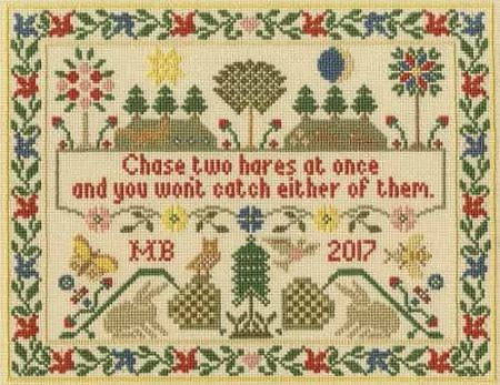Bothy Threads Cross Stitch Kit - Moira Blackburn Two Hares Sampler XS13