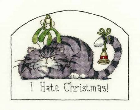 Heritage Crafts Cross Stitch Kit - Cats Rule, I Hate Christmas