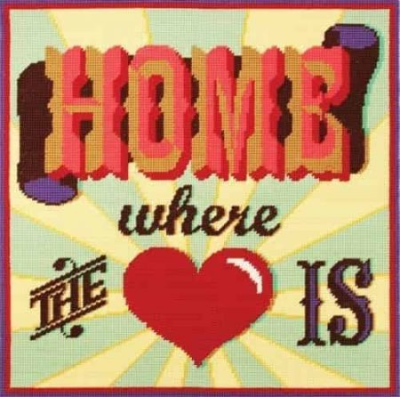DMC Printed Cushion Front Tapestry Kit - Homespun Slogan - Home where the heart is
