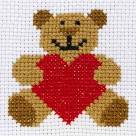 Anchor Beginners 1st Cross Stitch Kit - Ed, Teddy Bear 10004