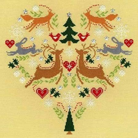 Bothy Threads Cross Stitch Kit - Scandi Heart, Christmas XX8