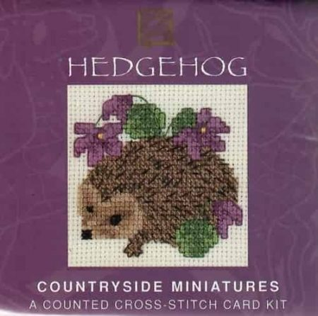 Textile Heritage Cross Stitch Kit - Card - Hedgehog - Made in Scotland