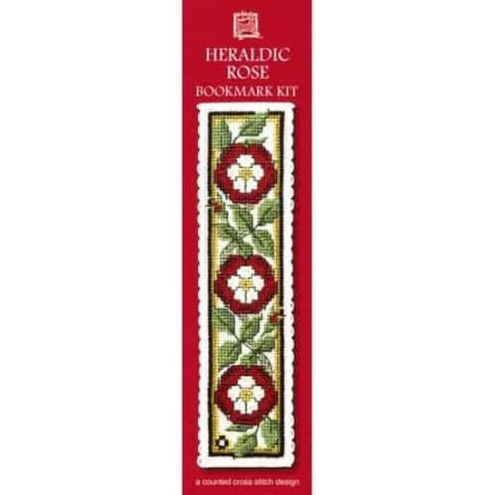 Textile Heritage Cross Stitch Kit - Bookmark - Heraldic Rose - Made in Scotland