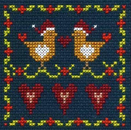 DMC Mini Cross Stitch Kit - Festive Christmas - Love Birds