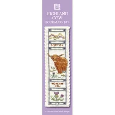 Textile Heritage Cross Stitch Kit - Bookmark - Highland Cow - Made in Scotland