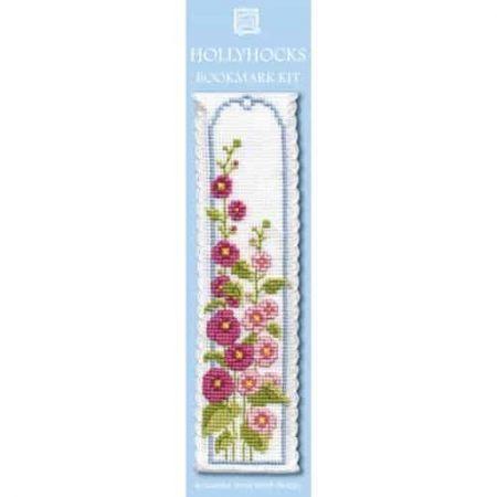 Textile Heritage Cross Stitch Kit - Bookmark - Hollyhocks - Made in Scotland