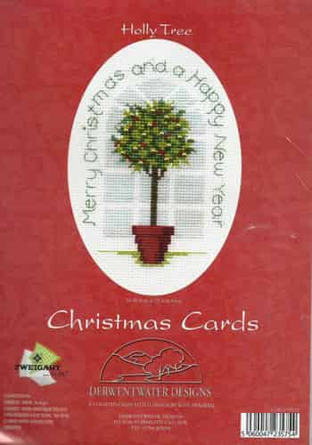 Derwentwater Designs Cross Stitch Kit - Christmas Card, Holly Tree
