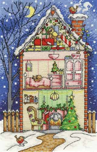 DMC Cross Stitch Kit - Christmas at Home BK1700