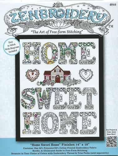 Design Works Zenbroidery Home Sweet Home Fabric Pack, Embroidery