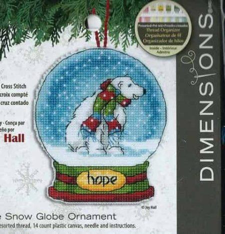 Dimensions Cross Stitch Kit - Snow Globe Christmas Tree Ornament, Hope