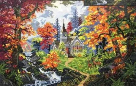 Janlynn Platinum Cross Stitch Kit - Chapel of Hope, Autumn Scene