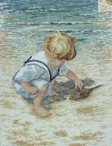 Janlynn Cross Stitch Kit - Boy with Horseshoe Crab