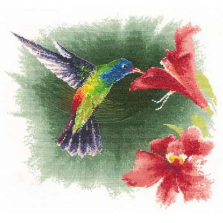 Heritage Crafts Cross Stitch Kit - Hummingbird in Flight 14 count aida